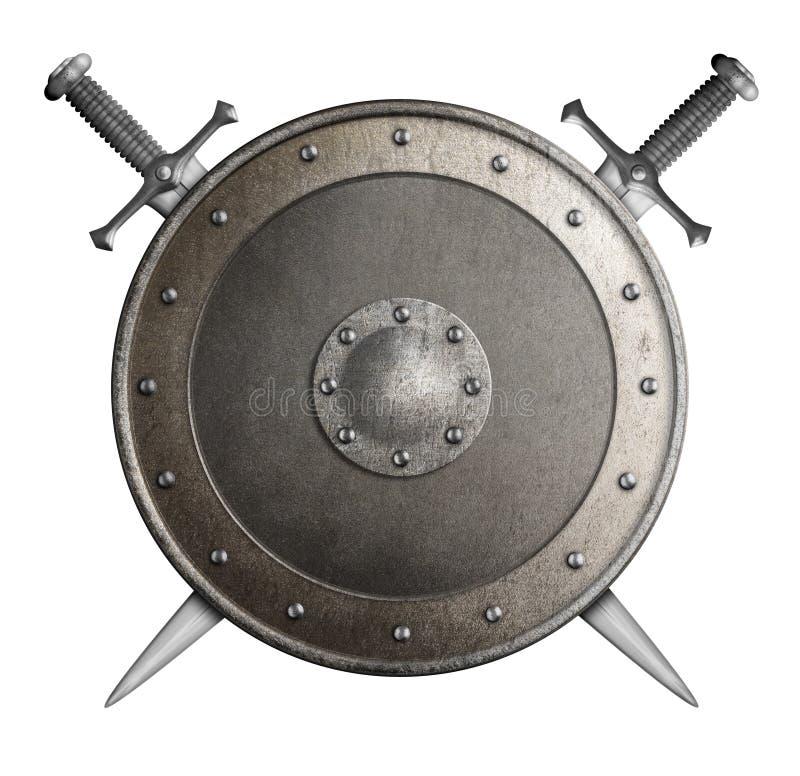 Mittelalterliches Metallschild mit gekreuzten Klingen lokalisierte Illustration 3d lizenzfreie abbildung