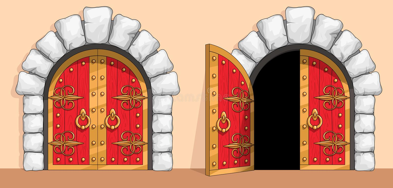 Mittelalterliches rotes hölzernes Tor verziert mit Schmiedeeisen vektor abbildung