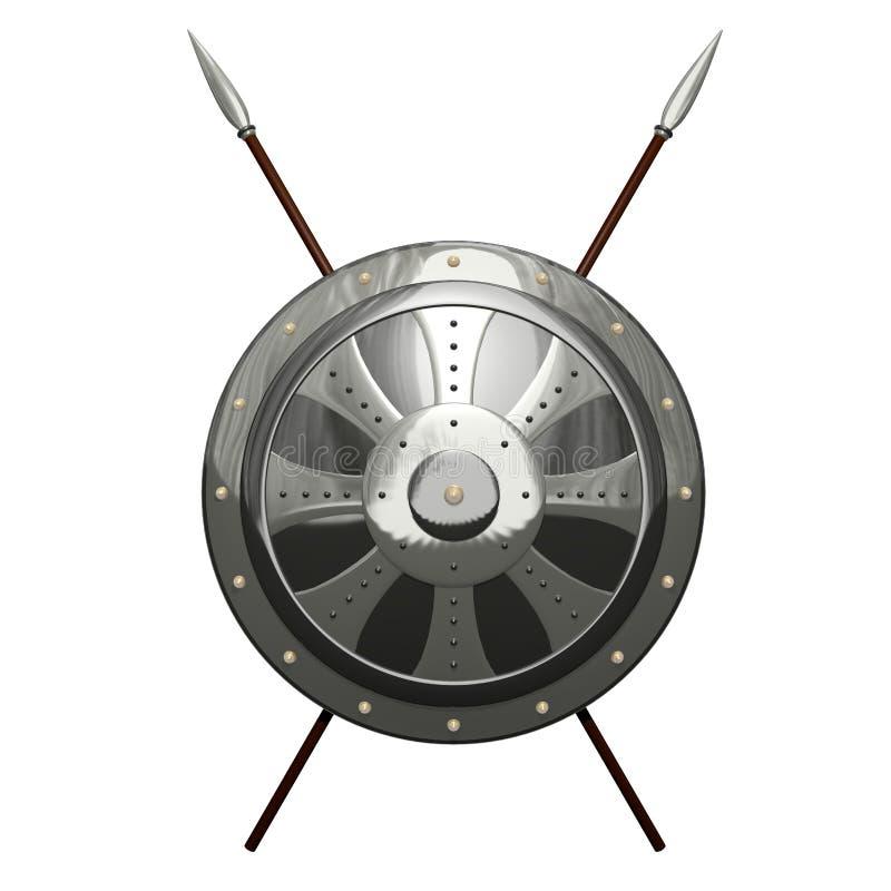 Mittelalterliches rundes Schild stock abbildung