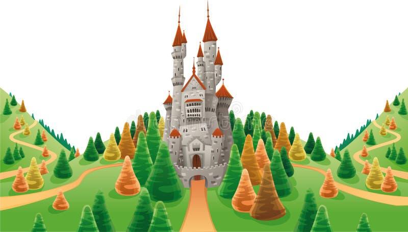 Mittelalterliches Schloss im Land. lizenzfreie abbildung
