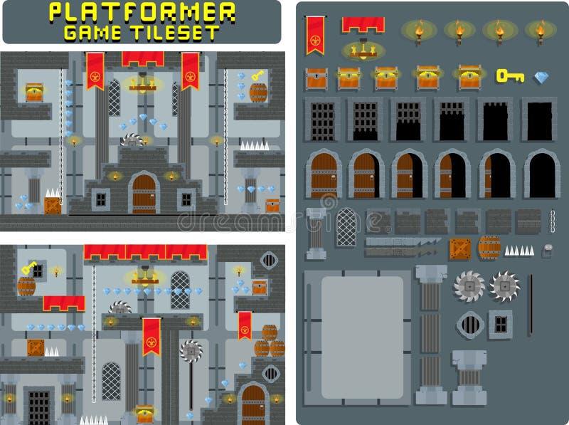 Mittelalterliches Schloss-Karikatur Platformer-Spiel Tileset lizenzfreie abbildung