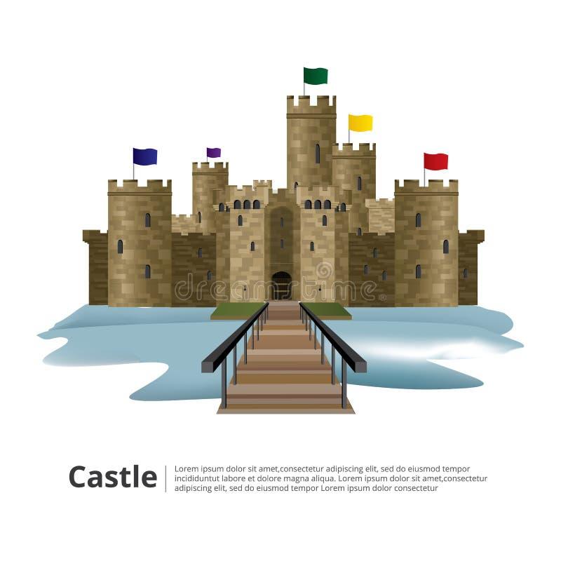 Mittelalterliches Schloss mit Höhen-Turm und Wand stock abbildung