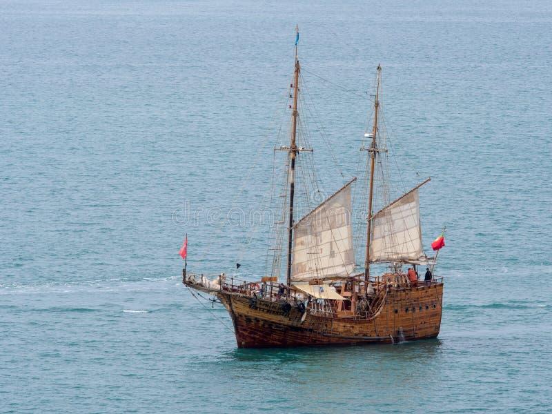 mittelalterliches Segelschiff lizenzfreies stockbild