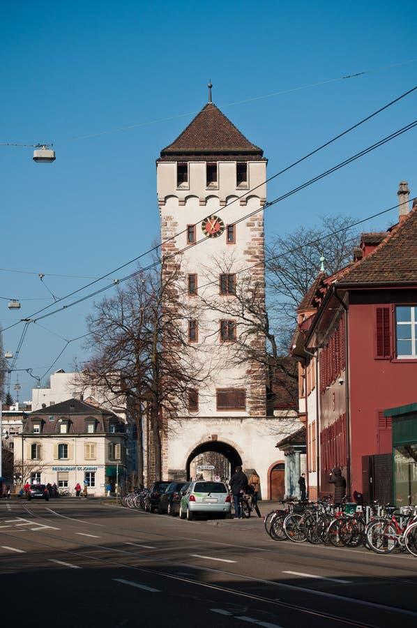 Mittelalterliches Tor von Johannes in Basel, die Schweiz lizenzfreie stockfotos