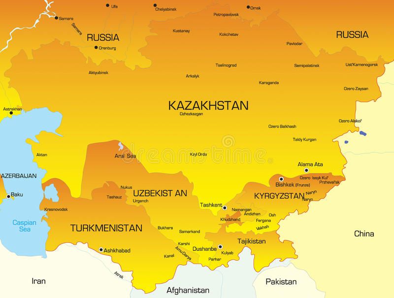 Mittelasien stock abbildung