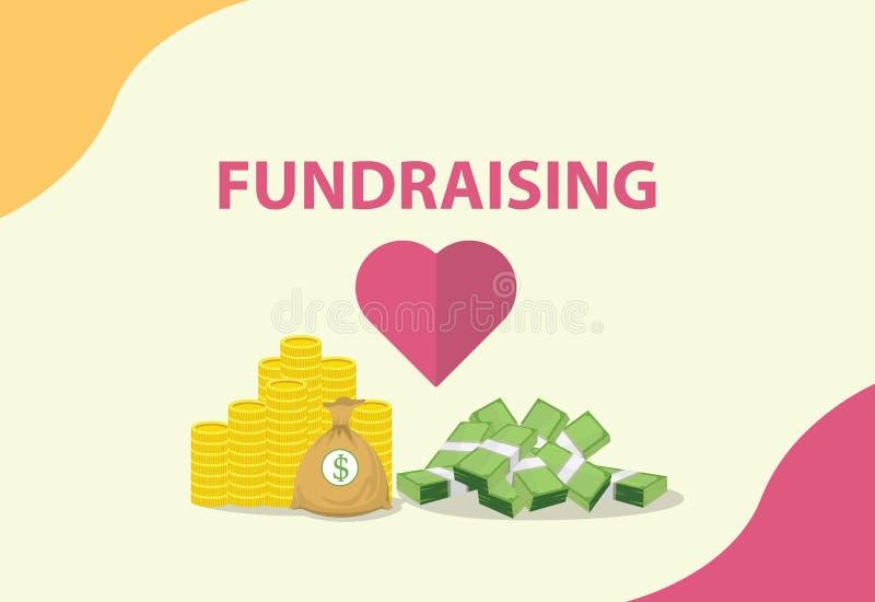 Mittelbeschaffungskonzept mit Herzen und Geld als Spende vektor abbildung