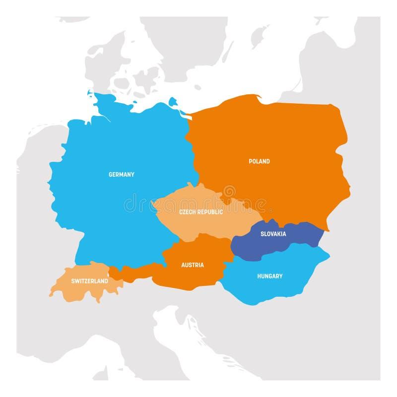 Mitteleuropa-Region Karte von L?ndern im zentralen Teil von Europa Auch im corel abgehobenen Betrag lizenzfreie abbildung