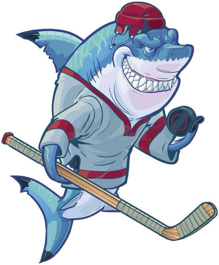 Mittelkarikatur-Hockey-Haifisch mit Stock und Kobold stock abbildung