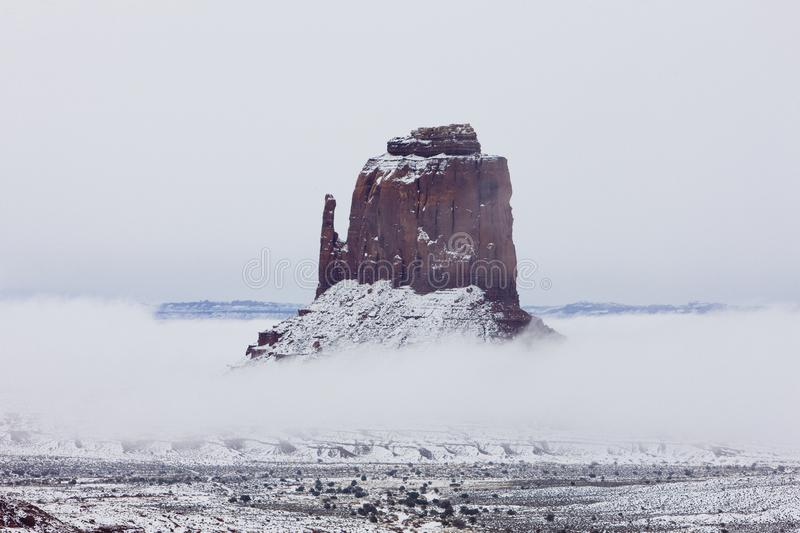 The Mitten, Monument Valley National Park in winter, Utah, Arizo. Na, USA, outdoor, outdoors, outside, exterior, exteriors, america, north, united, states, np stock photo