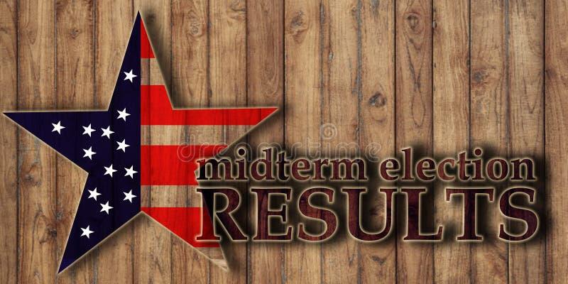 Mitten på terminenval som röstar resultat, text på träbakgrund royaltyfria bilder