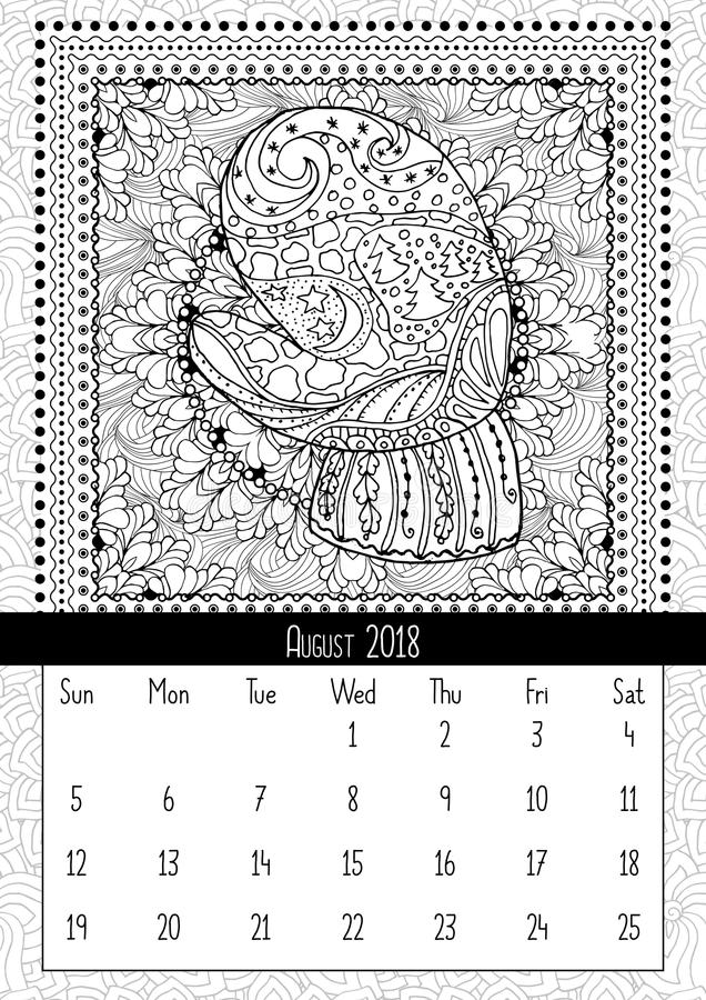 Mitten with scenery doodle pattern, calendar August 2018 royalty free illustration