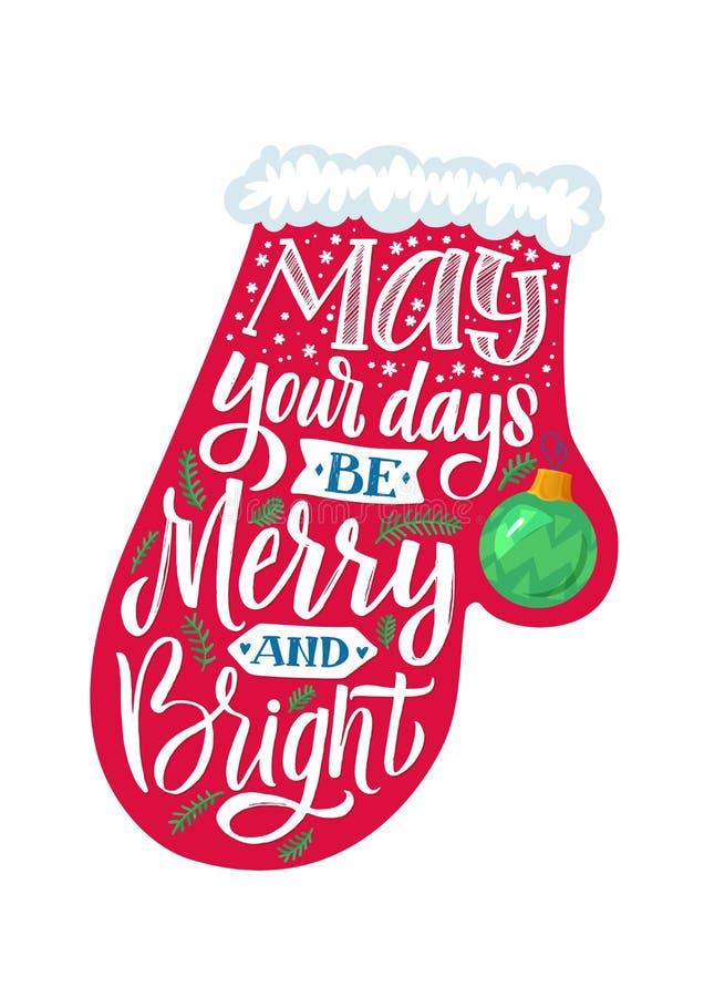 mitten Vektoraffisch för glad jul stock illustrationer