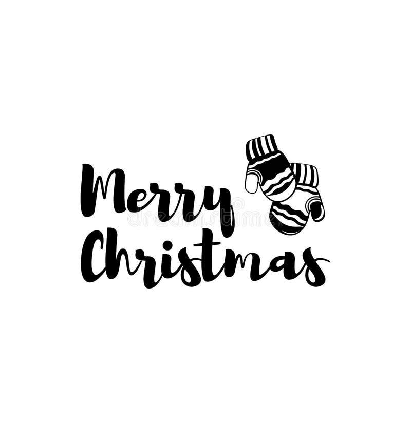 mittens glad jul Vektor för hälsningkort stock illustrationer