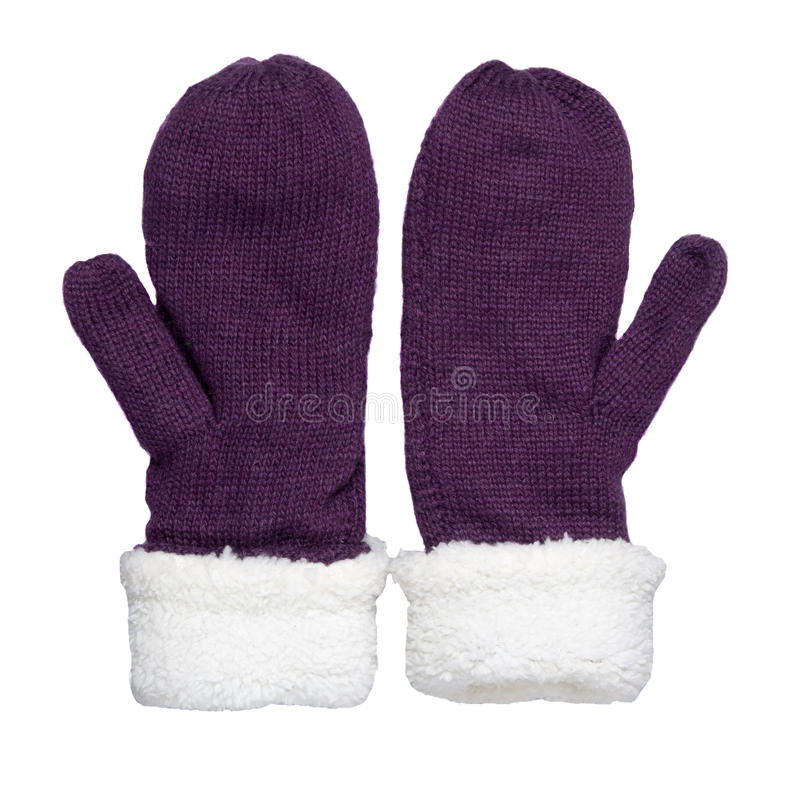 Mittens isolated on white background. Knitted mittens. Mittens. Top view.purple mittens stock images