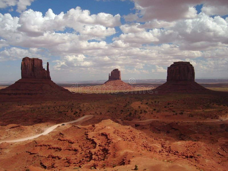Mittens and Merrick Butte. Are highlights of Monument Valley in Arizona royalty free stock photo