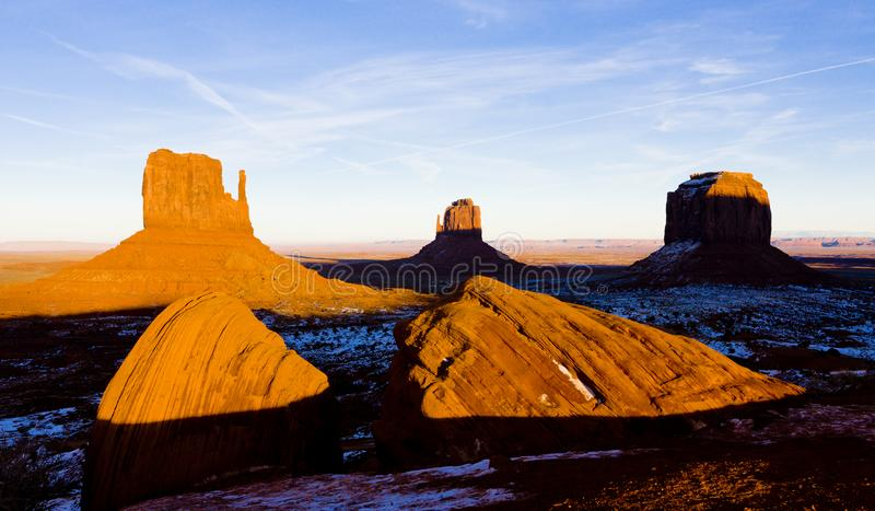 The Mittens and Merrick Butte, Monument Valley National Park, Ut. Ah-Arizona, USA, outdoors, outside, exteriors, america, north, united, states, southwest stock photo
