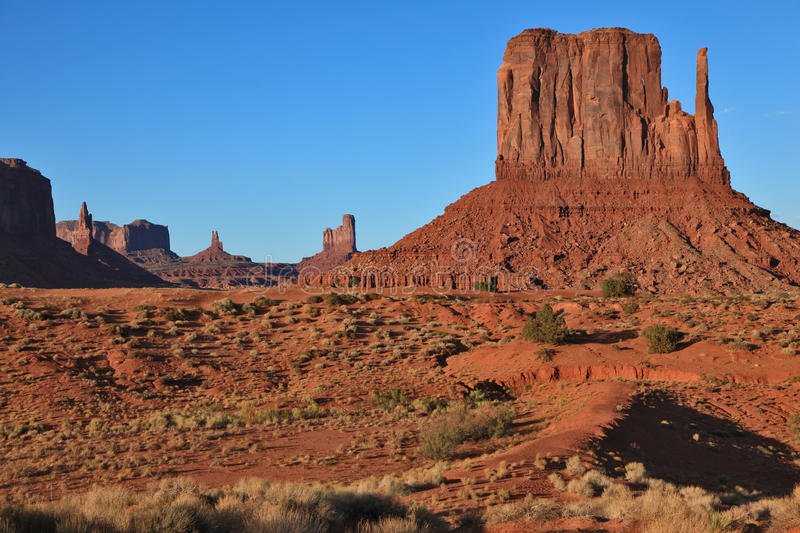 The Mittens from red sandstone. Monument Valley stock photography