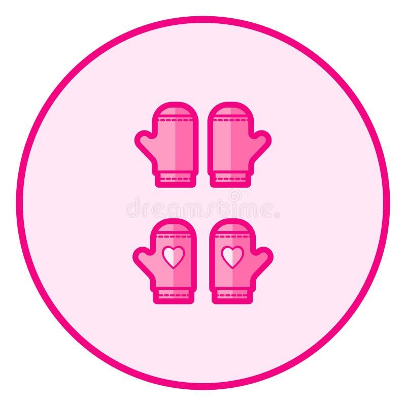 mittens Rosa f?rger behandla som ett barn symbolen p? en vit bakgrund stock illustrationer