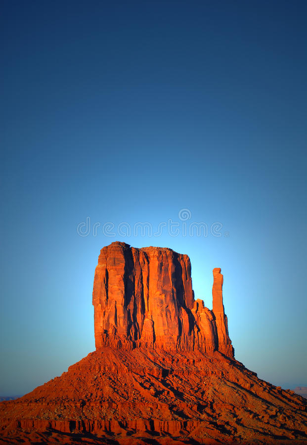 The Mittens at sunset in Monument Valley stock photos