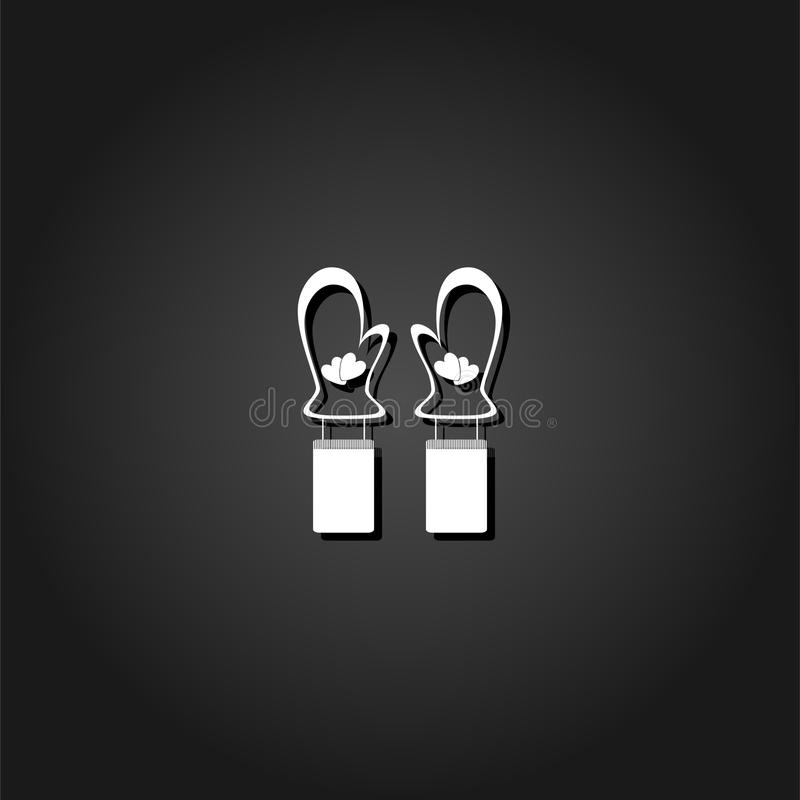 Mittens winter icon flat. Simple White pictogram on black background with shadow. Vector illustration symbol stock illustration