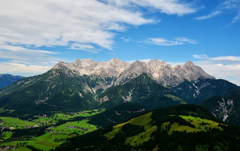 Mitterhorn mountain seen from Jakobskreuz Cross. Loferer Steinberge - Mitterhorn mountain seen from Jakobskreuz Cross in Sankt Ulrich am Pillersee, Austria royalty free stock image
