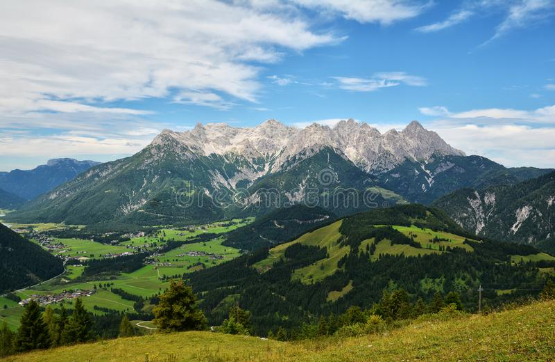 Mitterhorn mountain seen from Jakobskreuz Cross. Loferer Steinberge - Mitterhorn mountain seen from Jakobskreuz Cross in Sankt Ulrich am Pillersee, Austria stock image