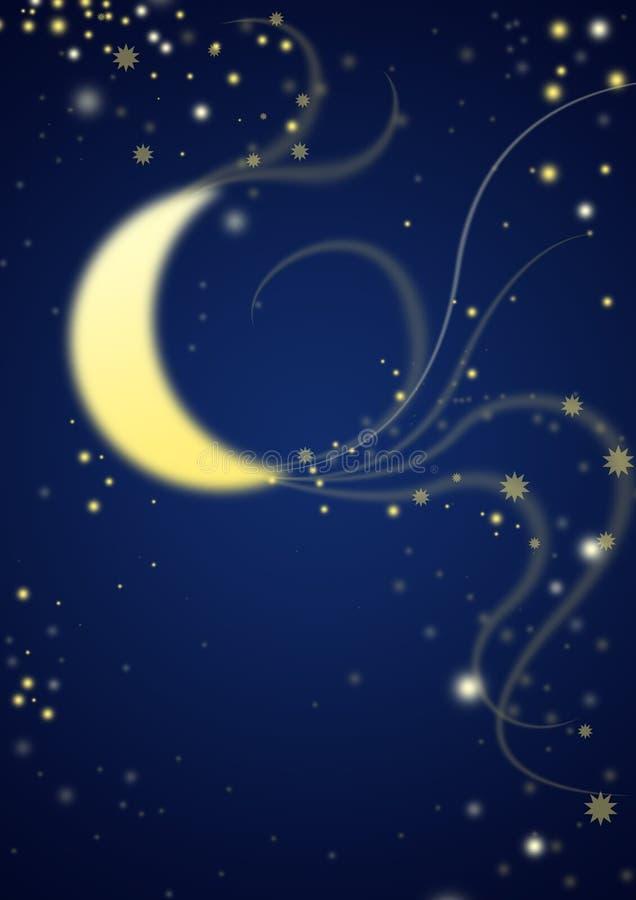 Mitternachtsmond im stardust stock abbildung