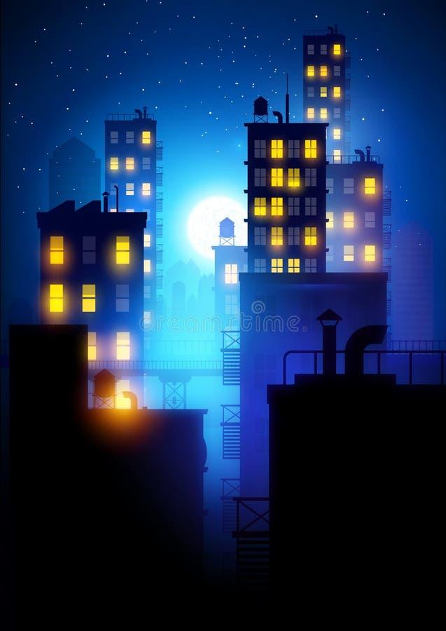 Mitternachtsstadt lizenzfreie abbildung