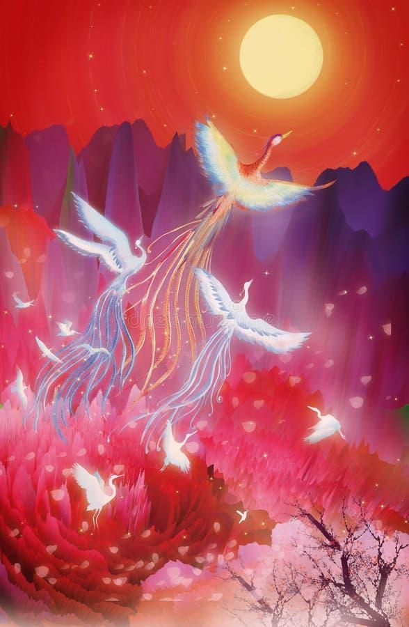 Mittherbstfestmond-Kuchenfestival, hundert Vögel in Richtung zum Phoenix blühen runde Illustrationsverpackung des guten Mondes vektor abbildung