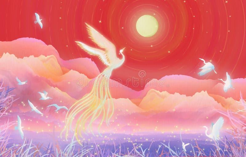Mittherbstfestmond-Kuchenfestival, hundert Vögel in Richtung zum Phoenix blühen runde Illustrationsverpackung des guten Mondes lizenzfreie abbildung