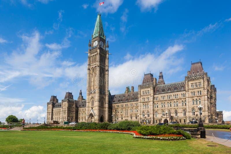 Mittkvarter och fredtorn på parlamentkullen Ottawa fotografering för bildbyråer