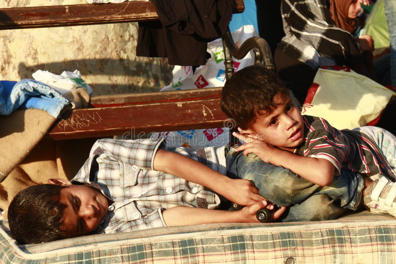 Mittlere Osten-Flüchtlinge lizenzfreie stockfotos