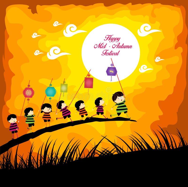 Mittlerer Autumn Festival-Hintergrund mit den Kindern, die Laternen spielen lizenzfreie abbildung
