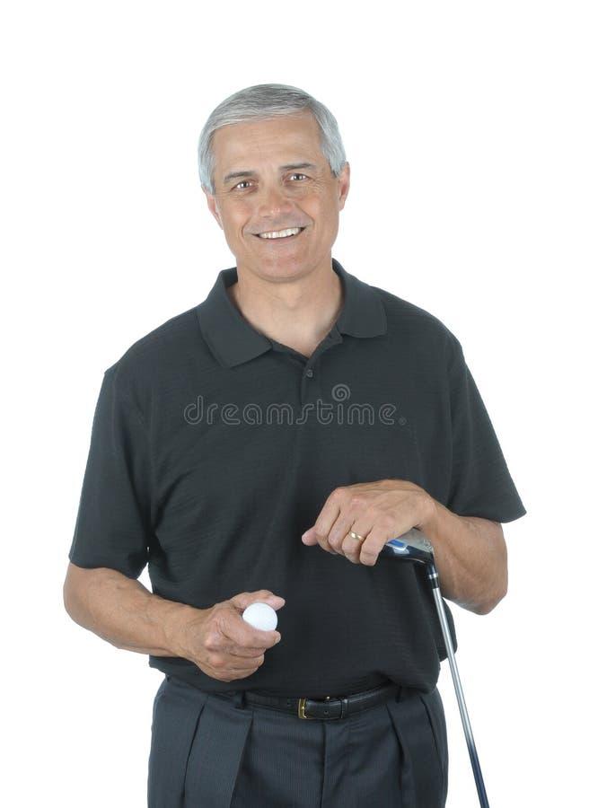 Mittlerer gealterter Golfspieler stockfotos