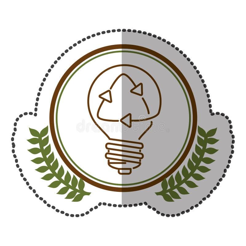 mittlerer Schattenaufkleber bunt mit olivgrüner Krone mit Glühlampe mit der Wiederverwertung des Symbols im Kreis stock abbildung