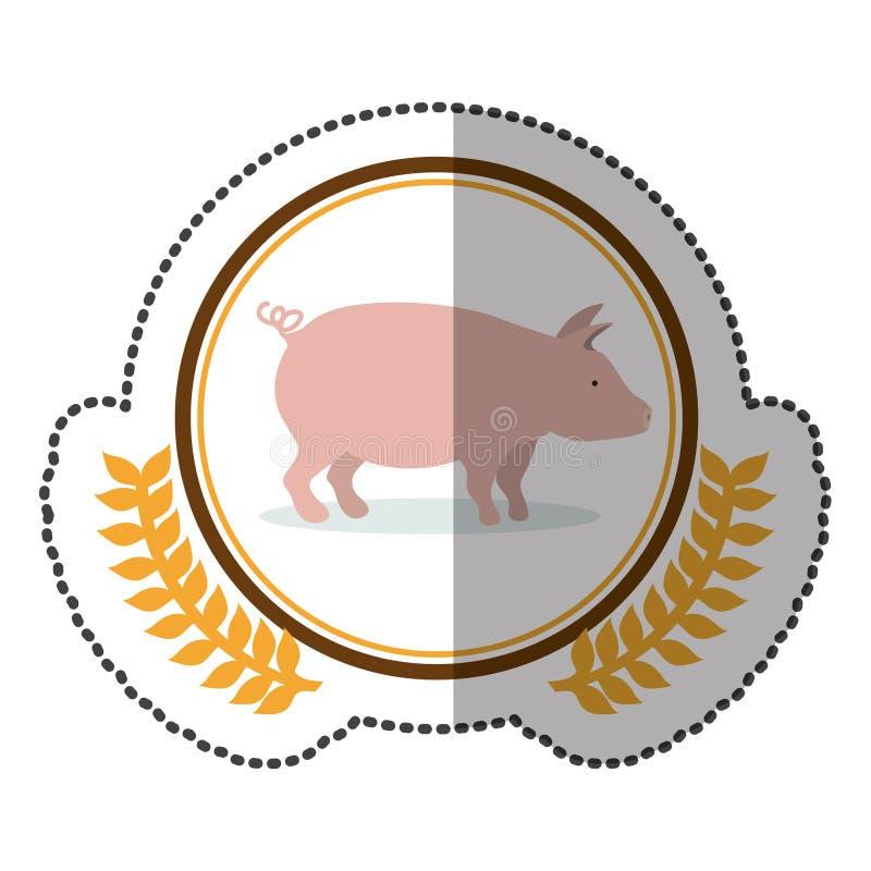 mittlerer Schattenaufkleber bunt mit olivgrüner Krone mit rosa Schwein im Kreis lizenzfreie abbildung