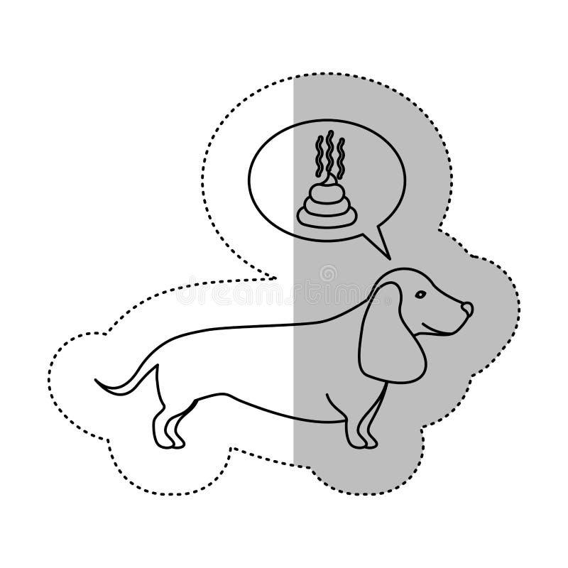 Mittlerer Schattenaufkleber der einfarbigen Kontur mit Dachshundhund-thinkin Heck vektor abbildung