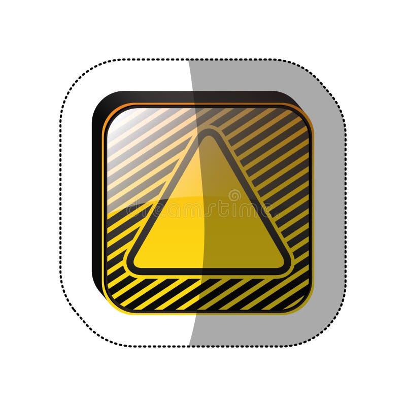 Mittlerer Schattenaufkleber im gelben Quadrat mit Dreieck nach innen lizenzfreie abbildung