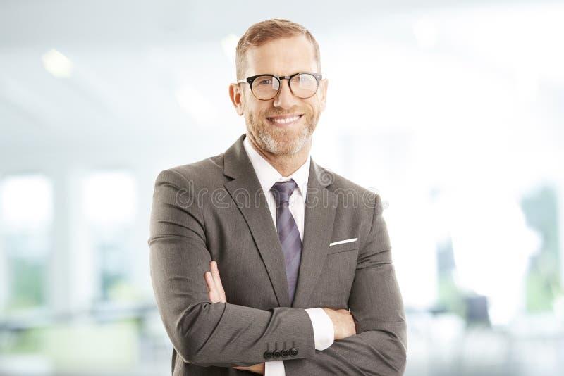 Mittleres gealtertes Geschäftsmann-Portrait stockfotos