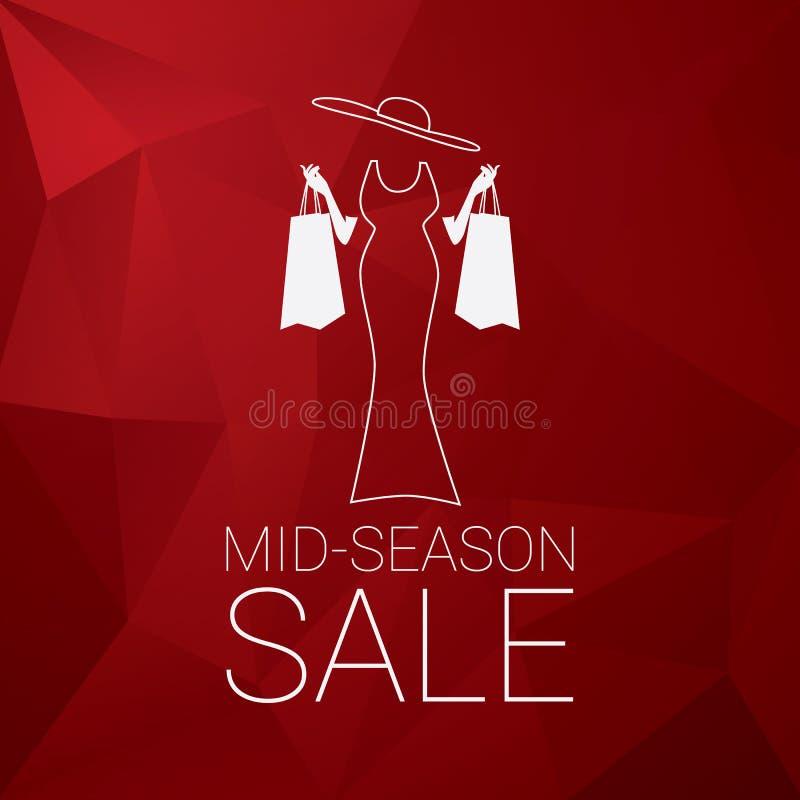 Mittleres Jahreszeitverkaufs-Plakatdesign mit eleganter Dame und Einkaufstaschen Niedriger polygonaler roter Hintergrund lizenzfreie abbildung