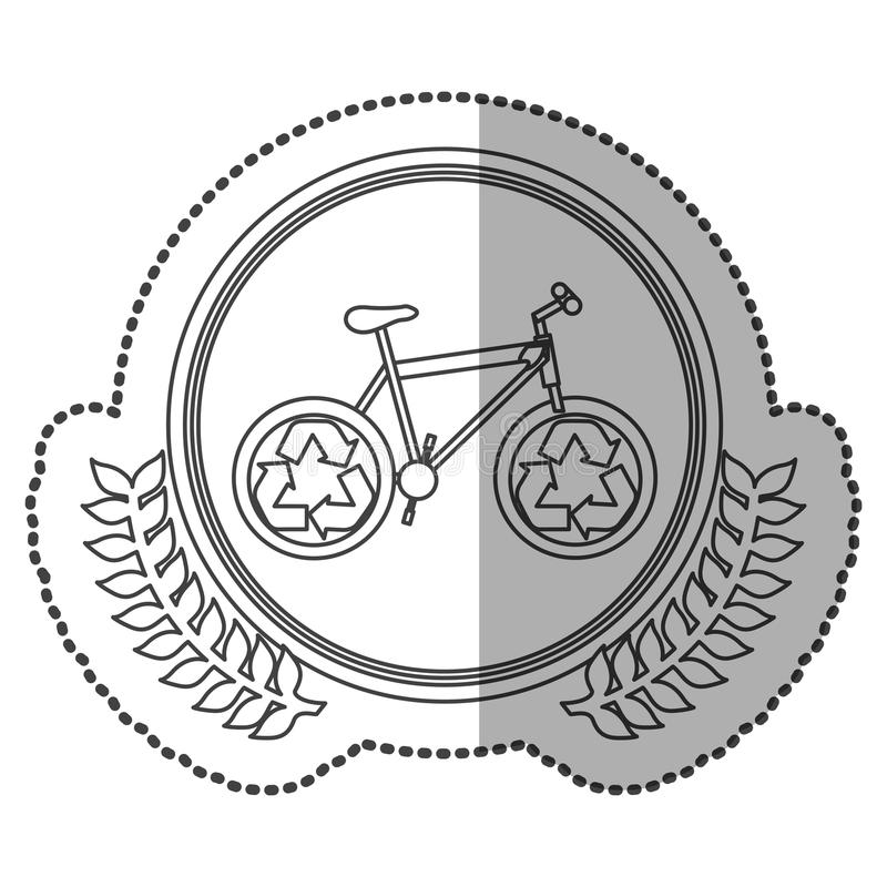 mittleres Schattenaufklebermonochrom mit olivgrüner Krone mit Fahrrad mit der Wiederverwertung des Symbols im Kreis lizenzfreie abbildung