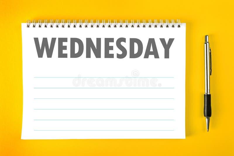 Mittwoch-Kalender-Zeitplan-Leerseite lizenzfreie stockfotos