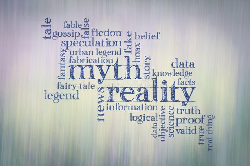 Mitu i rzeczywistości słowa chmura ilustracji