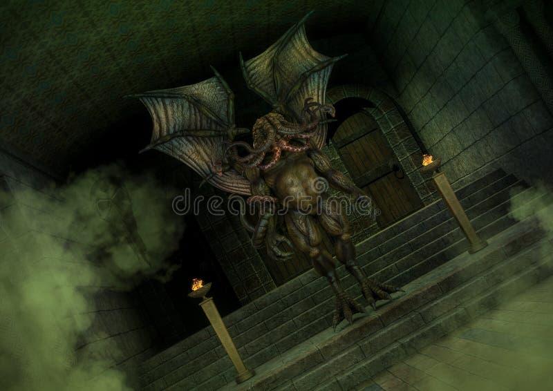 Mityczna Cthulhu potwora pozycja w starej świątyni ilustracja wektor