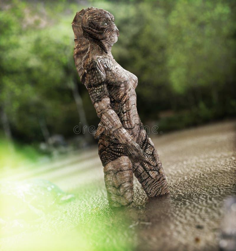 Mityczna istota głęboki wyłaniać się od wody ilustracji