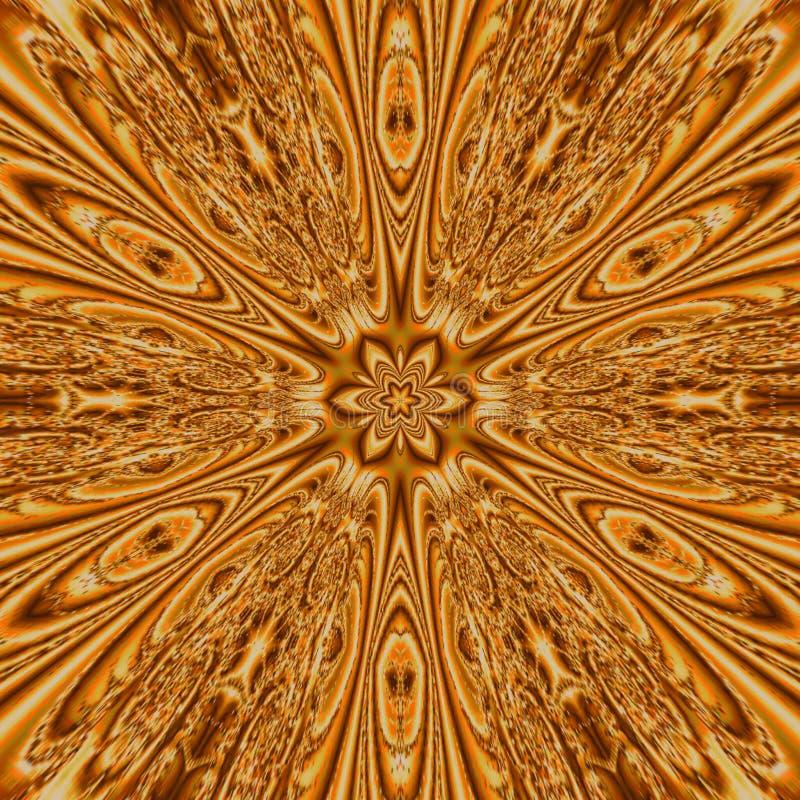 Mityczny kalejdoskop w formie złoto gwiazdy mandala, geometrycznej wiruje fractal zdjęcia stock