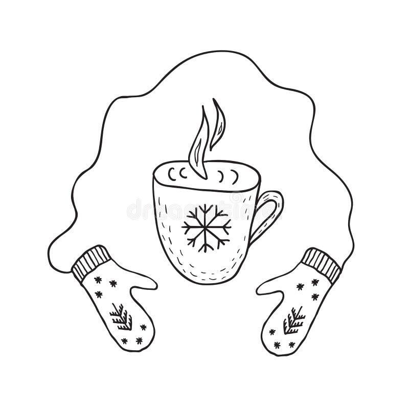 Mitynki i filiżanka gorąca herbata lub kawa Minimalistyczny scandinavian styl ilustracja wektor