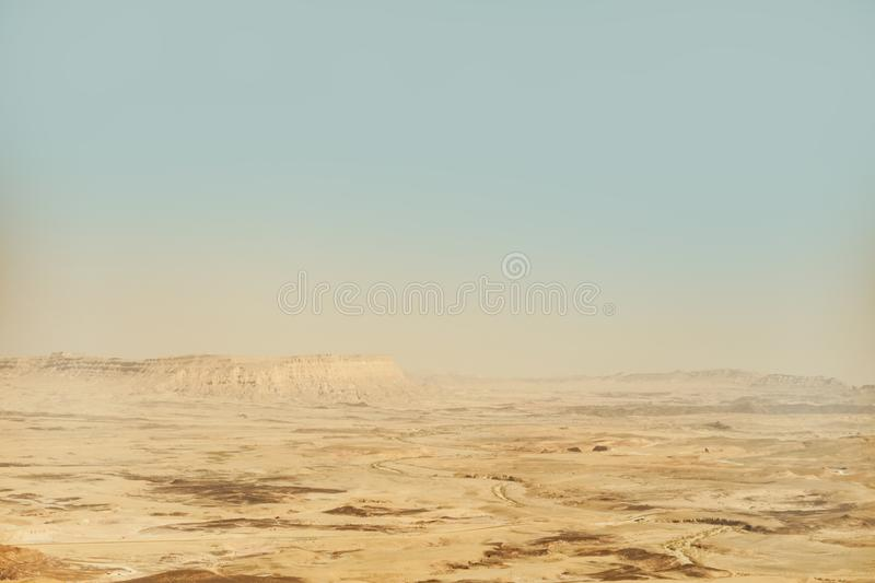 Mitzpe ramon crater in israel. Landscape view on negev desert and mountains stock images