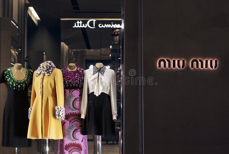 MIU MIU sklep w Florencja, jeden luksusowy zakupy okręg obrazy stock