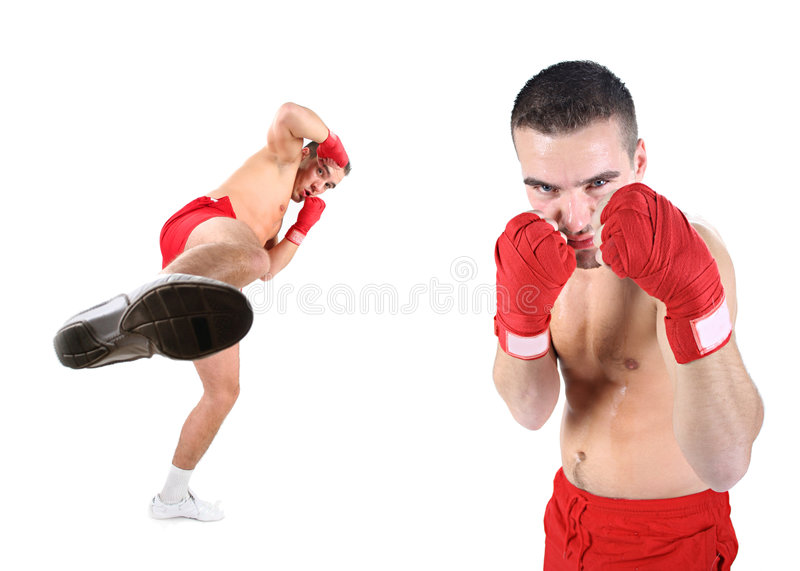 Mix. Two athletic fighters is kicking stock photo